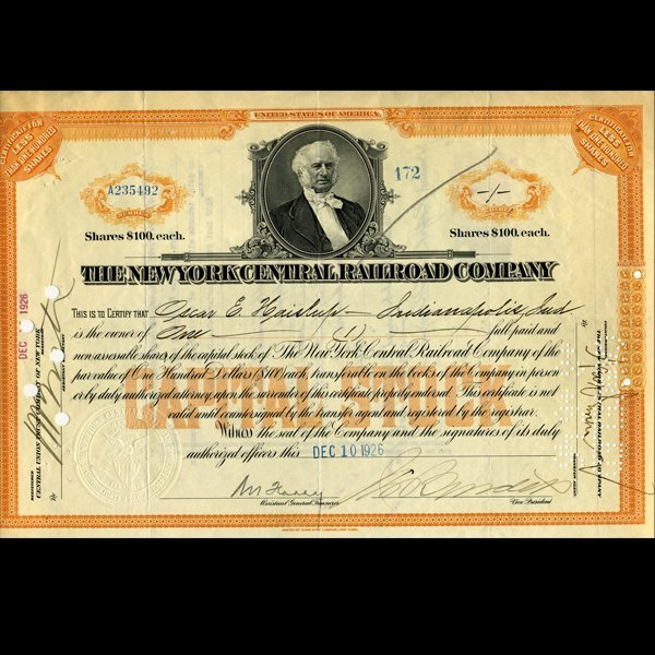 1920s NY Central Railroad Stock Cert w/ SCARCE Transfer