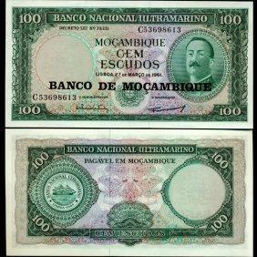 1961 Mozambique 100 Escudo Note Crisp Unc Scarce