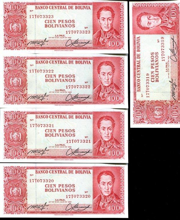 1962 Bolivia 100P Crisp Unc Note 10pcs Scarce