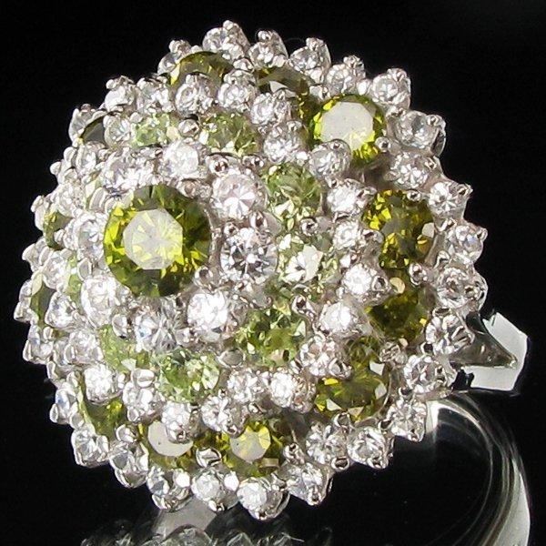 62.1twc Green Diamond Simulant Wht Gold Vermeil Ring