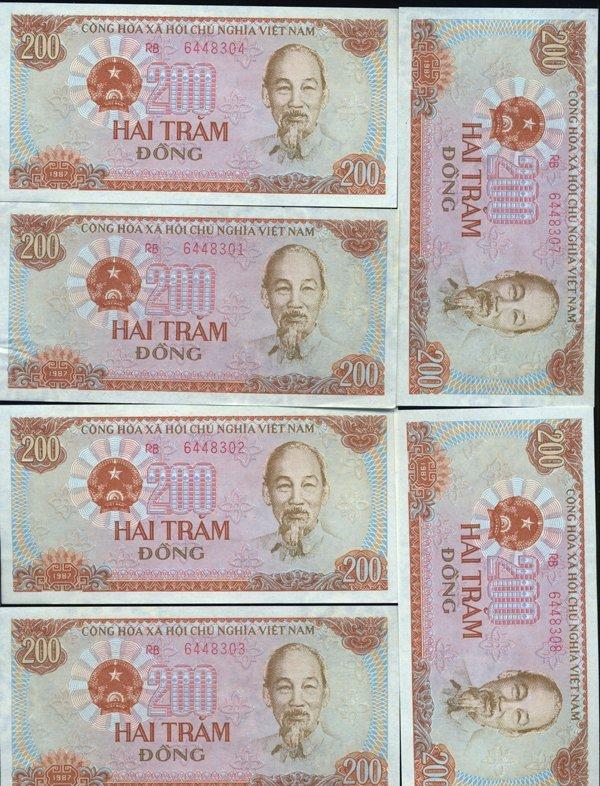 1987 Vietnam 200D Crisp Unc 10pcs Scarce Sequential