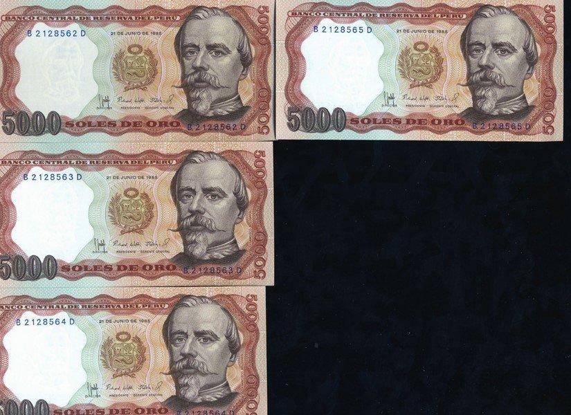 1985 Peru 5000S Crisp Unc Note 10pcs Scarce Sequential