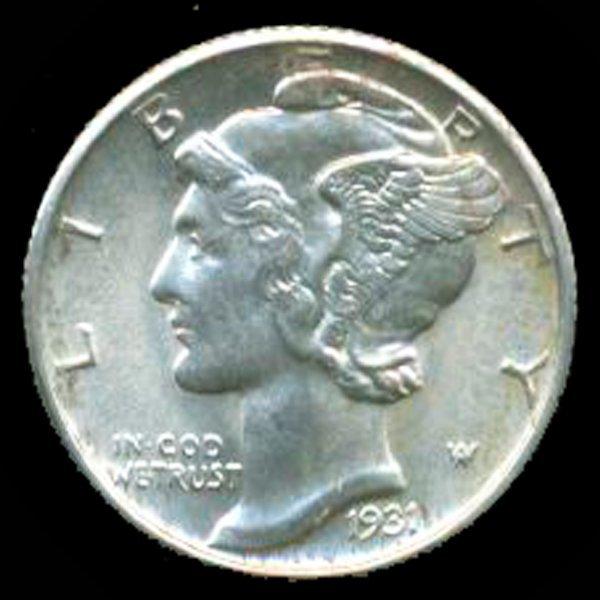 1931 Mercury Dime GEM MS66/67 Full Bands
