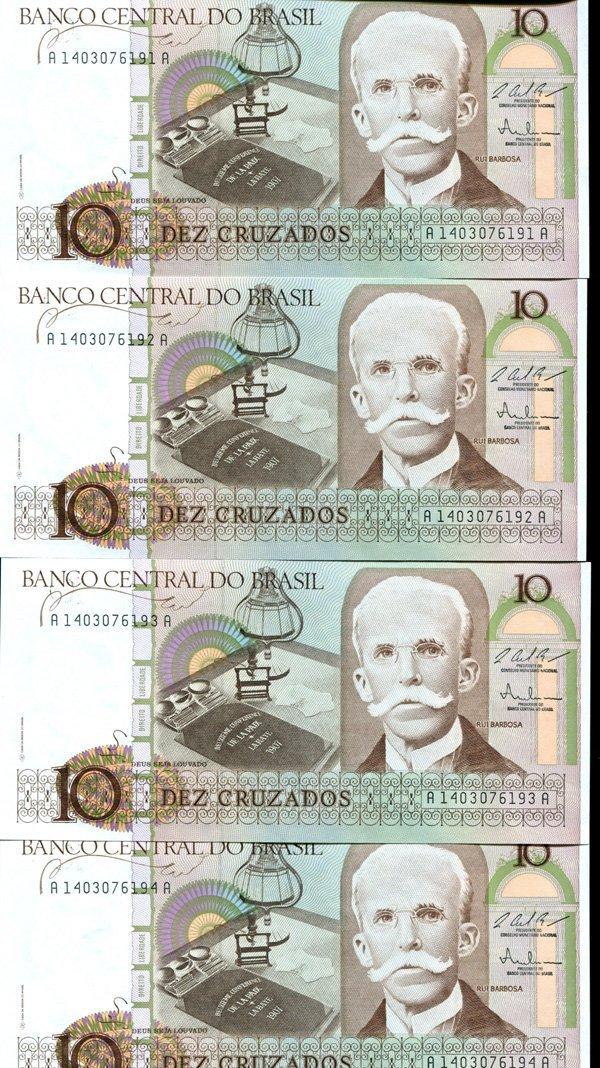 1986 Brazil 10C Crisp Unc Note 8pcs Scarce Sequential