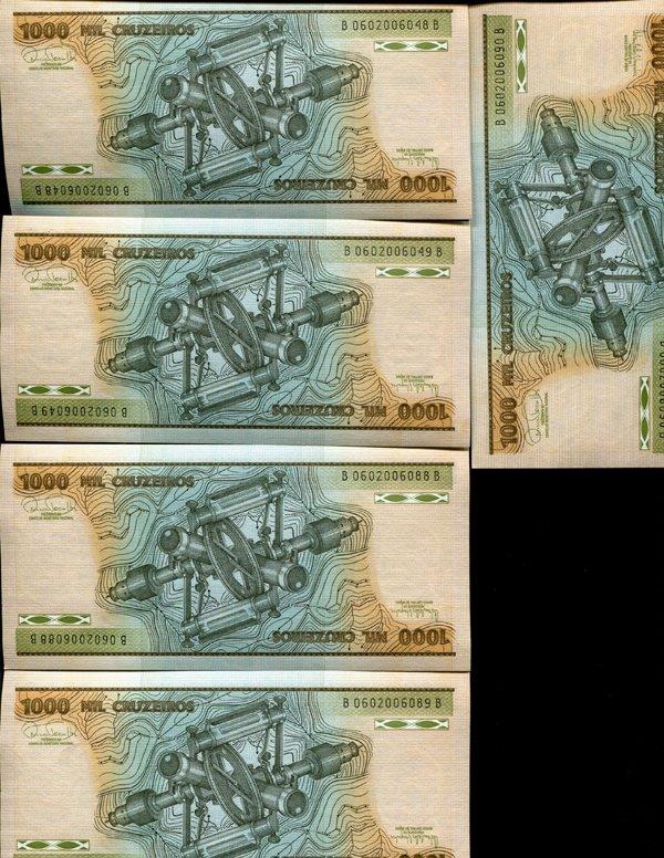 1981 Brazil 1000C Crisp Unc Note 8pcs Scarce Sequential