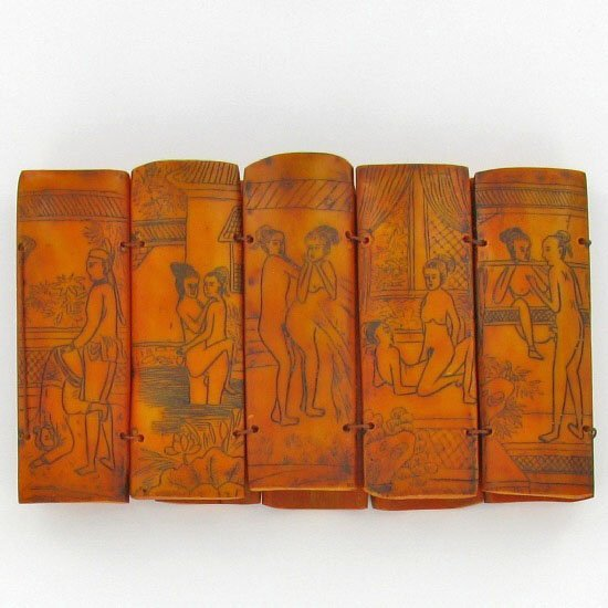 Hand Carved Bone Kamasutra Story Set - 2
