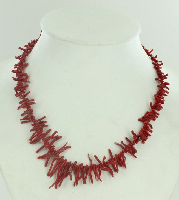 160twc Natural Sicilian Red Coral Necklace Strand