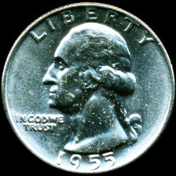 1955D Washington 25c Gem MS66/67