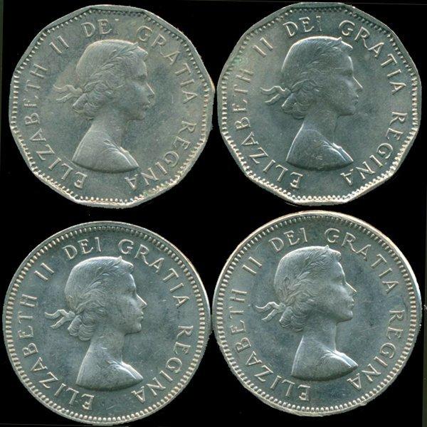 1960-64 Canada 5c Nickel MS 63/64 4 pcs
