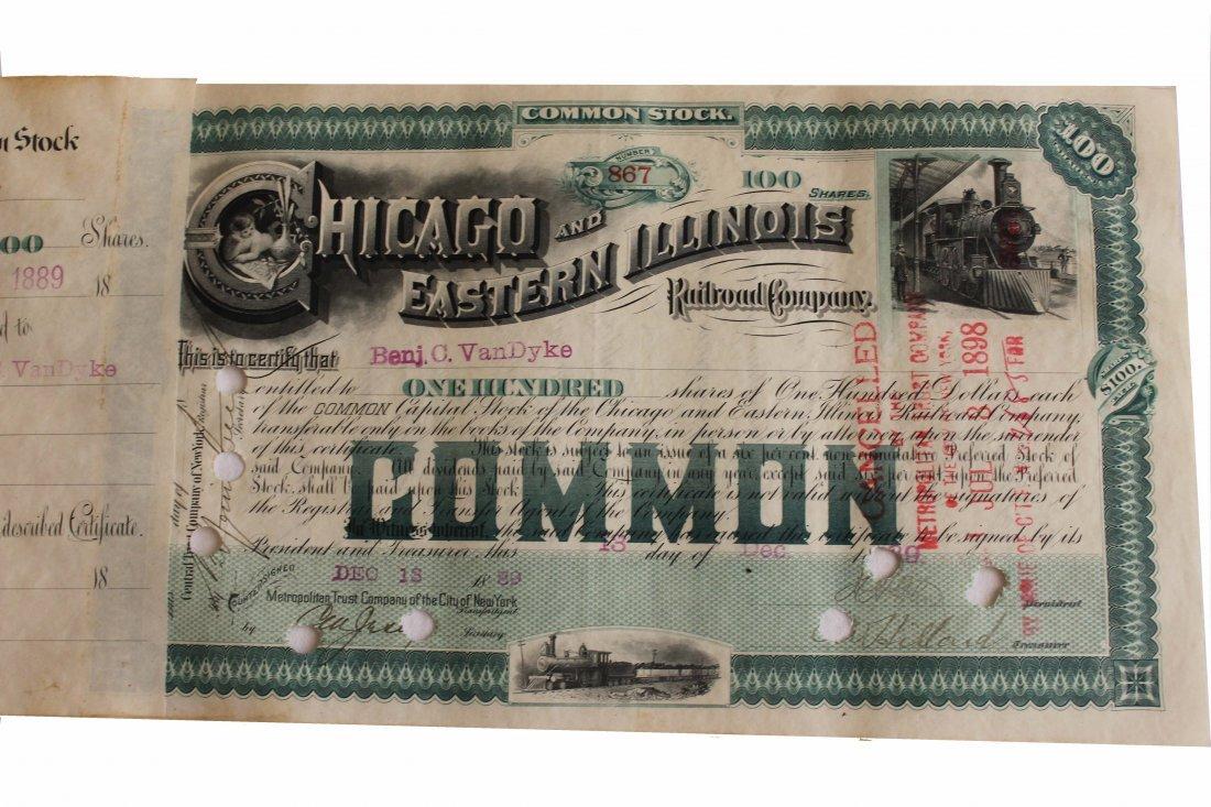 1889 CHICAGO/E. ILLINOIS RR STOCK BOOK 365PGS $18K VALU