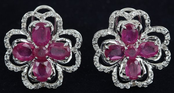 68twc Ruby Gold Vermeil  Earrings