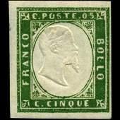 1855 Scarce Italy Sardina 5c Stamp MINT NG
