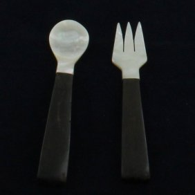 Mother Of Pearl Black Ebony Wood Fork Spoon Set