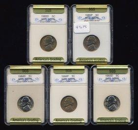 1983-85 Jefferson Nickel Set Graded Gems
