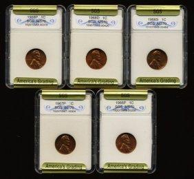 1966-68 Lincoln Cent Set Graded Gems