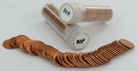1980 Unsearched Estate Hoard Bu Cent 3 Rolls Of 50