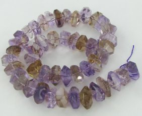 605twc Purple Green Faceted Amethyst Crystal Strand