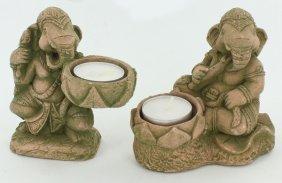 Sandstone Genesh Candle Holder Pair