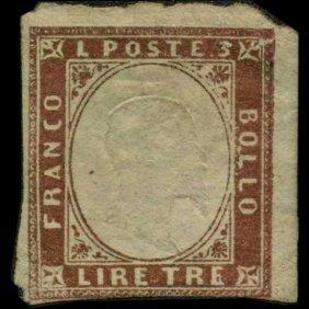 1855 Scarce Italy Sardina 3l Stamp Mint Ng