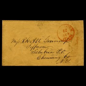 1840s Ny Stampless Cover Scarce