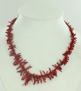 155twc Natural Sicilian Red Coral Necklace Strand