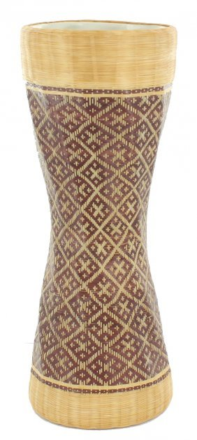 Finely Hand Woven Bamboo Covered Vase
