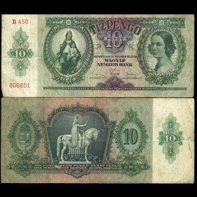 1936 Hungary 10 Pengo Hi Grade Note Scarce