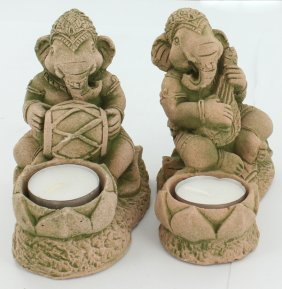 Sandstone Genesh Candle Holder Pair