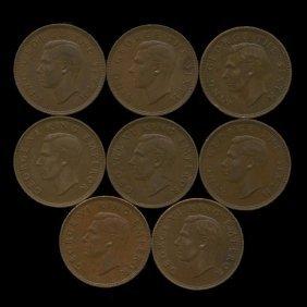 1944-1952 New Zealand Au+ 1/2 Penny Set
