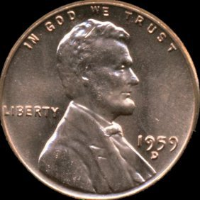 1959d Lincoln Cent Ms66 Red Filled R Error