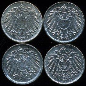 1920a/j/f Germany 5pf Vf/au 4pcs