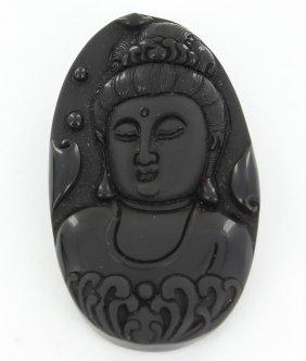 Finely Carved Black Obsidian Kwan Yin Pendant