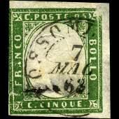 1855 Scarce Italy Sardina 5c Stamp