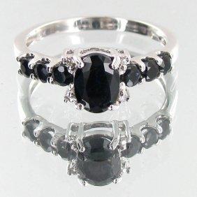 Lab Sapphire & Naturel Diamond 9k Ring