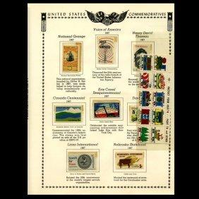 1967 Us Stamp Album Page 18pcs