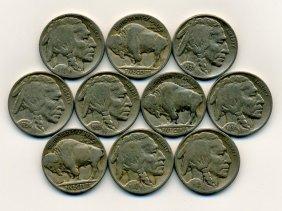 10 Us Buffalo Nickel Coin Lot