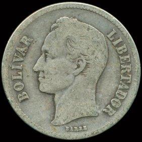 1930 Venezuela 2 Bolivar Silver
