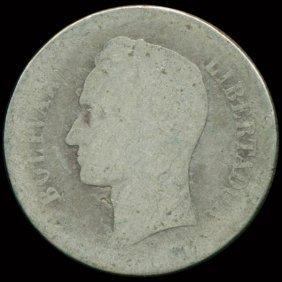 1903 Venezuela 2 Bolivar Silver