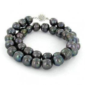 Saltwater Baroque Black Pearl Necklace