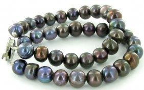 Black Saltwater Baroque Pearl 2 Strand Bracelet