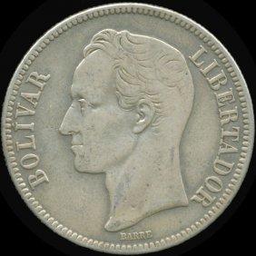 1936 Venezuela 5 Bolivar Silver Vf/xf