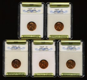 1962-65 Lincoln Cent Set Graded Gems