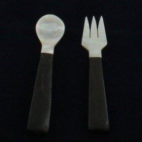 Mother Of Pearl Black Ebony Wood Fork Spoon Set