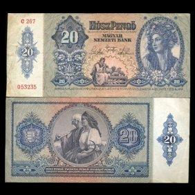 1941 Hungary 20 Pengo Note Hi Grade Scarce