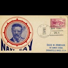 1936 Us 3c Navy Day Cover Uss Arizona Scarce