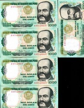 1981 Peru 1000s Crisp Unc Note 10pcs Scarce Sequential