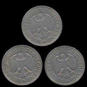 1950 D/f/g/j Germany 1 Mark Hi Grade Scarce 4 Pcs