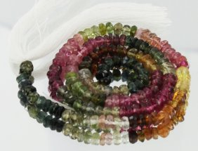 46.5ct Multi-color Tourmaline Faceted Bead Strand
