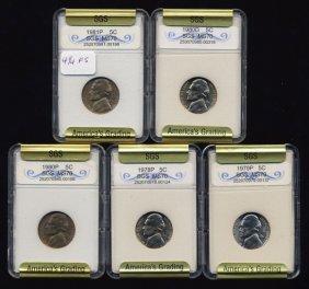 1978-81 Jefferson Nickel Set Graded Gems