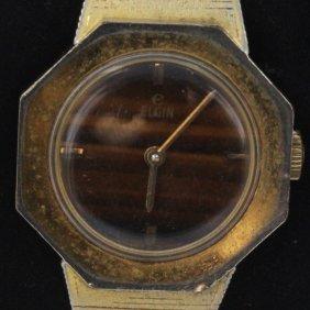 Vintage Ladies Elgin Tiger Eye Face Watch